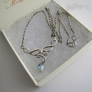 Sterling Silver & Topaz Infinity Pendant Necklace - MercyMadge