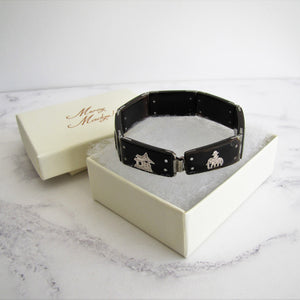 Art Deco Sterling Silver Pique & Tortoiseshell Bracelet - MercyMadge