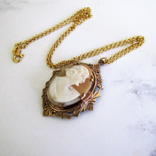 Laden Sie das Bild in den Galerie-Viewer, Antique Cameo Pendant Necklace. Rose Gold Edwardian Cameo Pendant On Chain. - MercyMadge