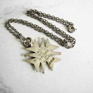 Vintage Engraved Silver Maltese Cross Fob Pendant On Chain. - MercyMadge