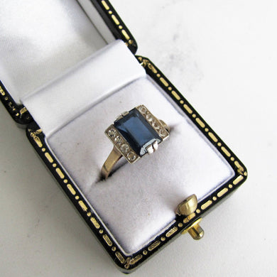 1920s Art Deco Paste Diamond & Sapphire Ring, 9ct Gold. - MercyMadge