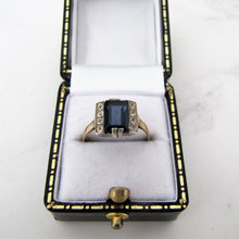 Load image into Gallery viewer, 1920s Art Deco Paste Diamond & Sapphire Ring, 9ct Gold. - MercyMadge