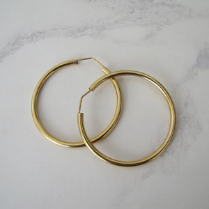 Italian 18ct Yellow Gold Large Hoop Earrings - Mercy Madge