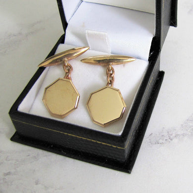 Antique 9ct Gold Cufflinks. English Edwardian/Art Deco Cufflinks. - MercyMadge