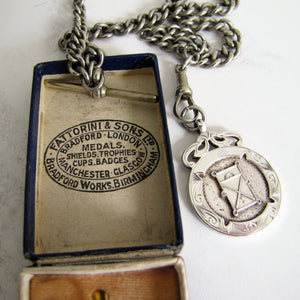 1930s Engraved Silver Pocket Watch Fob, Fattorini Box. - MercyMadge