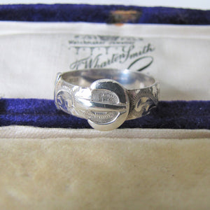 Victorian Style Silver Buckle Ring, Engraved Ferns. - MercyMadge