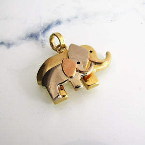 18ct Tricolor Gold Mom & Baby Elephant Pendant - MercyMadge