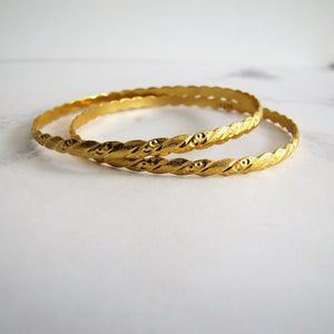 Pair Of 22K Gold Etruscan Engraved Bangles. - MercyMadge