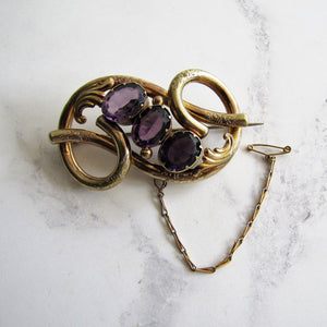 Victorian Gold Love Knot Brooch, Engraved Forget-Me-Nots, Paste Amethysts - MercyMadge