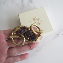Load image into Gallery viewer, Victorian Gold Love Knot Brooch, Engraved Forget-Me-Nots, Paste Amethysts - Mercy Madge
