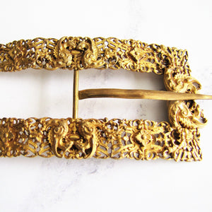 Large Antique Georgian Pinchbeck Gilt Buckle - Mercy Madge