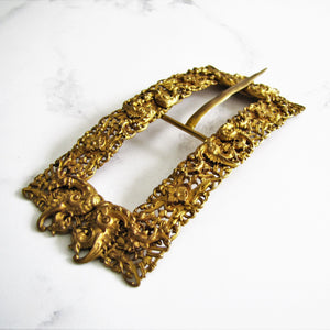 Large Antique Georgian Pinchbeck Gilt Buckle - MercyMadge