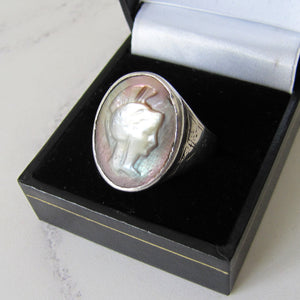 Mens Victorian 935 Silver Intaglio Ring. - MercyMadge