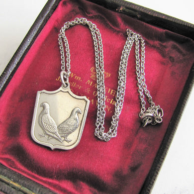 Vintage Silver Pigeon Fob Pendant On Chain. - MercyMadge