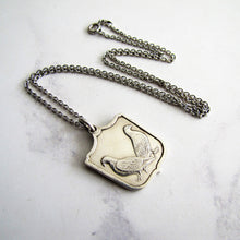 Load image into Gallery viewer, Vintage Silver Pigeon Fob Pendant On Chain. - MercyMadge