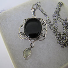 Load image into Gallery viewer, Vintage Whitby Jet Sterling Silver Pendant Necklace. - Mercy Madge