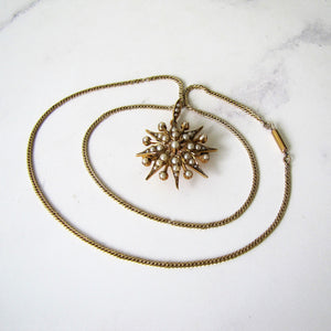 Victorian 15ct Gold Pearl Star Pendant Necklace. - MercyMadge