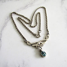 Load image into Gallery viewer, Vintage Celtic Silver & Blue Topaz Necklace. Rennie Mackintosh, Art Nouveau Style - MercyMadge