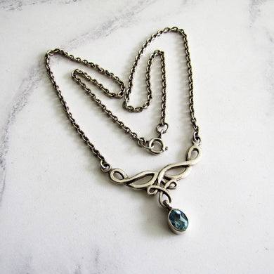 Sterling Silver & Topaz Infinity Pendant Necklace - Mercy Madge