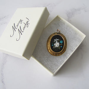 Victorian 15ct Gold Inlaid Pietra Dura Locket Pendant. - MercyMadge