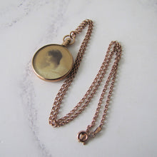 Load image into Gallery viewer, Antique 9ct Rose Gold Locket Necklace. Edwardian Portrait Locket, Chester Hallmarks. - MercyMadge