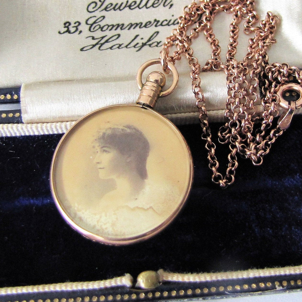 Antique 9ct Rose Gold Locket Necklace. Edwardian Portrait Locket, Chester Hallmarks. - MercyMadge