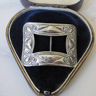 Antique Arts and Crafts Silver Buckle, Art Nouveau 1902 - Mercy Madge
