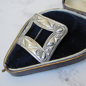 Antique Arts and Crafts Silver Buckle, Art Nouveau 1902 - MercyMadge