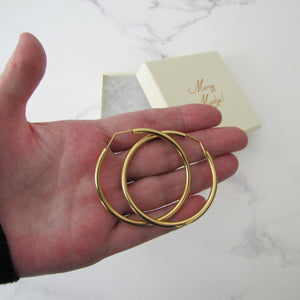 Italian 18ct Yellow Gold Large Hoop Earrings - MercyMadge