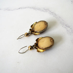 Georgian Pinchbeck Garnet Paste Earrings - MercyMadge