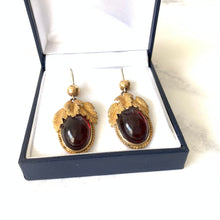Load image into Gallery viewer, Georgian Pinchbeck Garnet Paste Earrings - MercyMadge