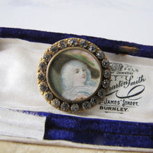 Load image into Gallery viewer, Antique French Paste Portrait Brooch, Georgian Lady - MercyMadge
