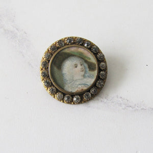 Antique French Paste Portrait Brooch, Georgian Lady - MercyMadge