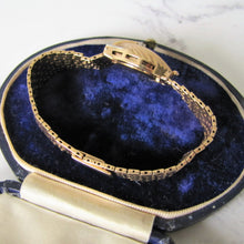 Load image into Gallery viewer, Art Deco 14K Gold, Diamond & Sapphire Hidden Watch Bracelet. - MercyMadge