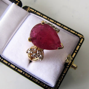 14ct Gold Ruby & Diamond Ring - MercyMadge