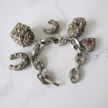 Load image into Gallery viewer, 1930s Peruzzi Silver Bracelet, Italy. Vintage Etruscan Fob Charm Bracelet. - MercyMadge