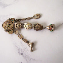 Load image into Gallery viewer, Antique Austro Hungarian Gold Gilt & Paste Chatelaine Brooch. - MercyMadge