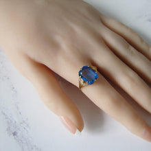 Load image into Gallery viewer, Art Deco Blue Zircon Ring, 9ct Gold. - MercyMadge