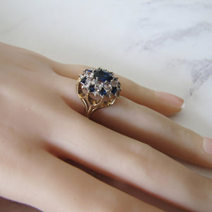 1970's 9ct Gold Sapphire & White Spinel Ring - MercyMadge