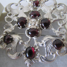 Load image into Gallery viewer, Massive Austro Hungarian 950 Silver & Garnet Victorian Brooch. - MercyMadge