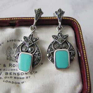 Art Deco Style Silver Marcasite & Turquoise Earrings - MercyMadge