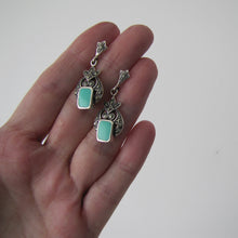Load image into Gallery viewer, Art Deco Style Silver Marcasite & Turquoise Earrings - MercyMadge