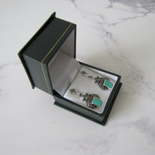 Load image into Gallery viewer, Art Deco Style Silver Marcasite & Turquoise Earrings - Mercy Madge