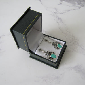 Art Deco Style Silver Marcasite & Turquoise Earrings - Mercy Madge
