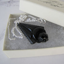 Load image into Gallery viewer, Victorian Whitby Jet Mourning Pendant, Silver Chain. - MercyMadge