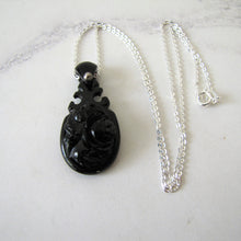 Load image into Gallery viewer, Victorian Whitby Jet Carved Rose Pendant, Silver Chain - Mercy Madge