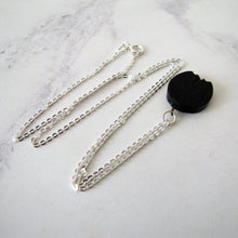 Load image into Gallery viewer, Victorian Whitby Jet Horseshoe Charm Pendant, Silver Chain. - MercyMadge
