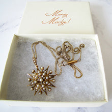 Load image into Gallery viewer, Victorian 15ct Gold Pearl Star Pendant Necklace. - MercyMadge