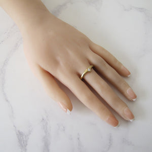 Mens 9ct Gold CZ Wishbone Ring. - MercyMadge