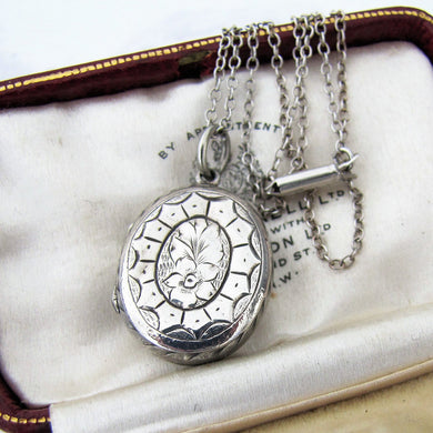 Victorian Silver Locket Necklace, Engraved Forget Me Nots, Irish Harp - MercyMadge